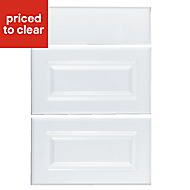 IT Kitchens Chilton Gloss White Style Drawer front (W)500mm, Set of 3