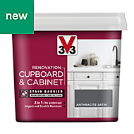 V33 Renovation Anthracite Satin Cupboard & cabinet paint 750ml