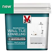 V33 Renovation Soft grey Satin Wall tile & panelling paint 0.75L