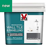 V33 Renovation Anthracite Satin Wall tile & panelling paint, 0.75L