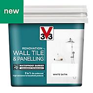 V33 Renovation White Satin Wall tile & panelling paint 0.75L
