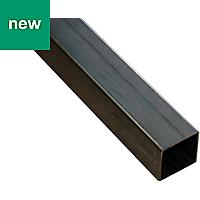 Varnished Cold-pressed steel Square tube (H)25mm (W)25mm (L)1m