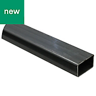 Dark grey Varnished Cold-pressed steel Rectangular tube, (W)40mm (L)1m