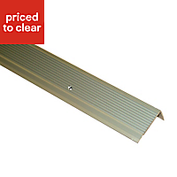 FFA Concept Anodised Aluminium Square edge Step edging, (H)45mm (W)23mm (L)2000mm