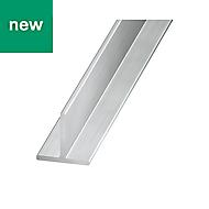 Satin Aluminium T-shaped profile (H)15mm (W)15mm (L)1m