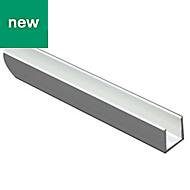 Anodised Aluminium U-shaped profile (H)15mm (W)15mm (L)2m