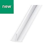 White PVC T-shaped profile (H)18mm (W)25mm (L)2m