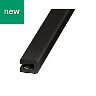 Black PVC U-shaped profile (H)4mm (W)7mm (L)1m