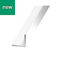 Painted White Aluminium Equal angle (H)15mm (W)15mm (L)1m