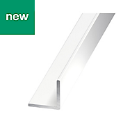 Painted White Aluminium Equal angle (H)20mm (W)20mm (L)1m