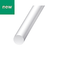 White Polyester & Fiberglass Bar (H)4mm (L)1m
