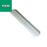 White PVC Unequal angle (H)15mm (W)25mm (L)1m