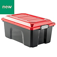 Black & red 40L Plastic Stackable Storage trunk
