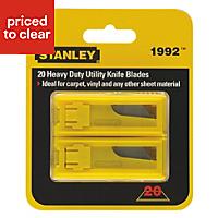 Stanley 62mm Steel Knife blade, Pack of 20