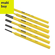 Stanley Yellow & Black Steel Pin Punch, Set of 6