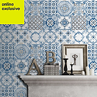 Muriva Tiles Blue Wallpaper