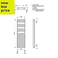 Acova Cala 973W Electric White Towel warmer (H)1761mm (W)500mm