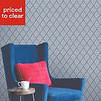 Colours Hadley Blue Geometric Mica Wallpaper
