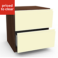 Darwin Cream Walnut effect Gloss 2 Drawer Bedside chest (H)548mm (W)500mm (D)420mm