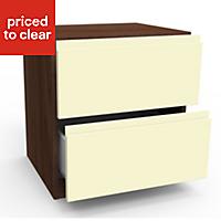 Darwin Cream Walnut effect Gloss 2 Drawer Bedside chest (H)548mm (W)500mm (D)420mm