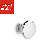 Chrome effect Round Cabinet knob, Pack of 2