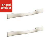 Satin nickel effect Curved bar Cabinet handle, Pack of 2