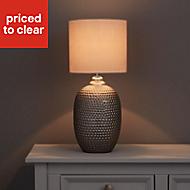 Sandford Dented Matt Silver effect LED Table lamp