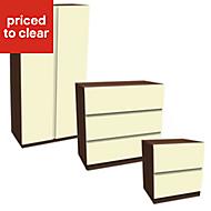 Darwin Gloss Cream & Walnut effect 3 piece bedroom furniture set