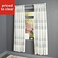 Cheyla Duck egg Stripe Lined Pencil pleat Curtains (W)117cm (L)137cm, Pair