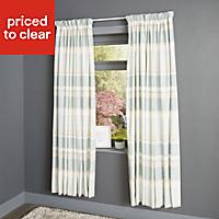 Cheyla Duck egg Stripe Lined Pencil pleat Curtains (W)167cm (L)228cm, Pair