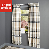 Cheyla Grey Stripe Lined Pencil pleat Curtains (W)117cm (L)137cm, Pair