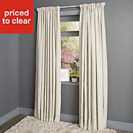 Christa Limestone Plain Lined Pencil pleat Curtains (W)167cm (L)183cm, Pair
