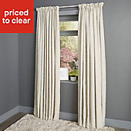 Christa Limestone Plain Lined Pencil pleat Curtains (W)228cm (L)228cm, Pair