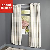 Auteur Beige Check Lined Pencil pleat Curtains (W)167cm (L)228cm, Pair