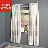 Auteur Beige Check Lined Pencil pleat Curtains (W)228cm (L)228cm, Pair