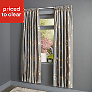 Chassidy Grey Geometric Lined Pencil pleat Curtains (W)167cm (L)183cm, Pair