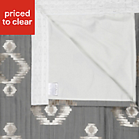 Chassidy Grey Geometric Lined Pencil pleat Curtains (W)228cm (L)228cm, Pair