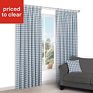 Chenoa Blue & white Check Lined Pencil pleat Curtains (W)167cm (L)183cm, Pair