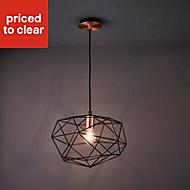 Geo Black Antique brass effect Geometric Ceiling light