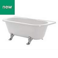 Cooke & Lewis Duchess Oval Freestanding Back to wall bath & smooth feet (L)1680mm (W)740mm