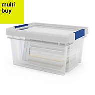 Xago Heavy duty Clear 15L Plastic Small Stackable Storage box & lid