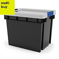 Xago Heavy duty Grey 24L Plastic Medium Stackable Storage box & lid