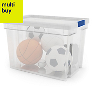 Xago Heavy duty Clear 24L Plastic Medium Stackable Storage box & lid