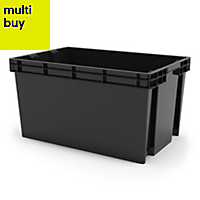 Xago Heavy duty Grey 51L Plastic Large Stackable Storage box & lid