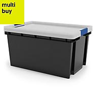 Xago Heavy duty Grey 51L Plastic Large Stackable Storage box & lid