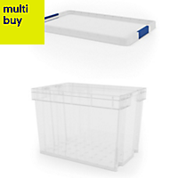 Xago Heavy duty Clear 68L Plastic XL Stackable Storage box & lid