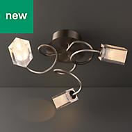 Ronan Chrome effect 3 Lamp Ceiling light