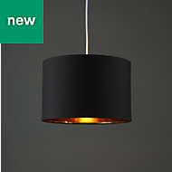 Colours Didsbury Matt Black Copper effect Light shade (D)300mm