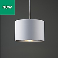 Colours Didsbury White Chrome effect Plain Light shade (D)300mm