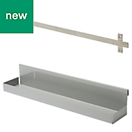 GoodHome Amantea Brushed Stainless steel Large shelf & hook